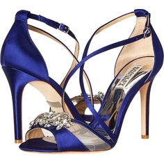 Badgley Mischka Gala (Indigo Satin/Mesh) High Heels ($151) ❤ liked on Polyvore featuring shoes, sandals, high heel sandals, criss cross strap sandals, high heel stilettos, high heeled footwear and platform stilettos