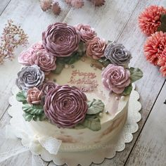 Cake Decorating Designs, Birthday Cakes For Women, Cake Flowers, Bean Paste, Floral Cake, Buttercream Cake, Amazing Cakes, Cake Recipes, Floral Wreath