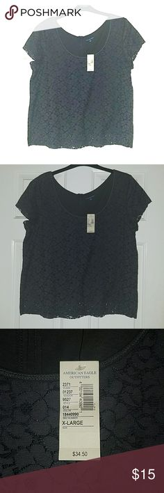Floral lace dark grey shirt Floral lace dark grey shirt American Eagle Outfitters Tops Blouses