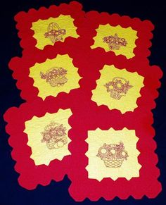 Advanced Embroidery Designs.Table Mats With One Color Spring Baskets  Embroidery. Design Table