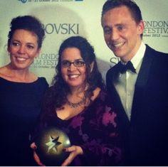 @BFI: Olivia Coleman and Tom Hiddleston pose with Best British Newcomer @ sallyelhosaini