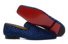 Christian Louboutin Dandy Mens Flat Suede Capitonne Derbies Shoes Blue