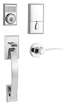 Kwikset 815TVHKTL-LH-909CNT SmartCode Electronic Handleset with Tavaris Handle a Polished Chrome Handleset Keyless Entry Electronic
