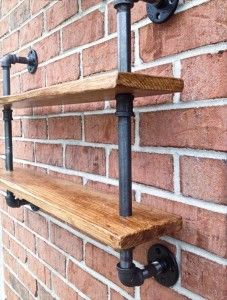 recycled pallet and iron pipe double shelf