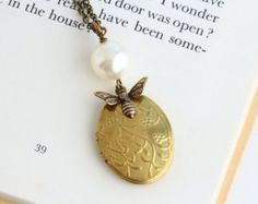 Honey Bee Pearl Locket Necklace Gold Pearl by JacarandaDesigns
