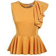 cd23bea1a295f Meaneor Women Plain Peplum Top Sleeveless Skater Frill Ruffle Vest Dressy  Blouse