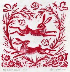 'my heart leaps' - 2 hares, celia hart, woodcut