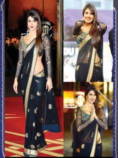 Priyanka Chopra Black Net Party Wear Saree 24181