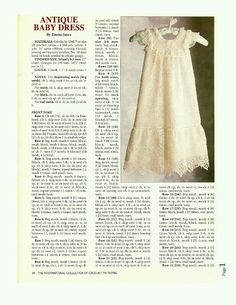 Crocheted christening gown with instructions