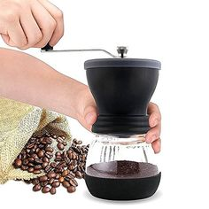 Vvbox Manual Coffee Grinder with Ceramic Burr Coffee Mill Glass Jar and Storage Lid  100g -- Read more at the image link. (This is an affiliate link)