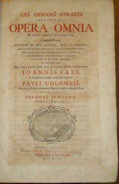 Lilio Gregorio Giraldi opera Leida 1696 volume 1 frontespizio