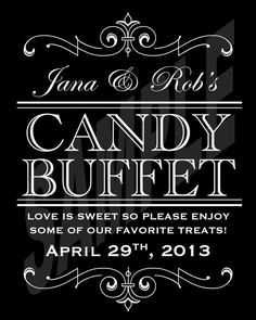 #Wedding Candy Buffet Sign or Poster DIY by WeddingsByJamie, $12.00