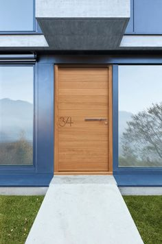 Bedroom Design, Contemporary Light Brown Urban Front Doors Made By Wooden With Modern Door Handle Design Also Modern Windows Design Also Sla...