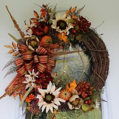 Fall Wreath Autumn Wreath Thanksgiving by PrissyPetalsBoutique
