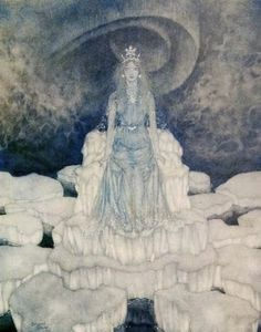 Artist-Edmund Dulac - The Snow Queen, on the Throne of Ice - Story by Hans Christian Andersen