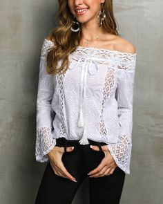 Stylish Lace Off Shoulder Casual Blouse price : , # Women's Trendy Clothes Online. Womens Fashion Online, Fashion Women, Long Sleeve Bodysuit, Trendy Outfits, Stylish Dresses, Fashion Prints, Fashion Styles, Pattern Fashion, Sleeve Styles