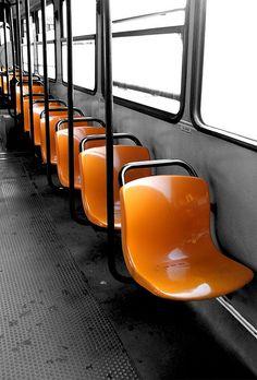 Orange tram seats anderaz @Sarah Buck Persons