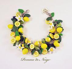 Lemon Bracelet Polymer clay jewelry Gift for by PommeDeNeige
