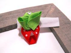 Strawberry Ribbon Hair Clip.