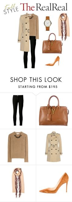 """Fall Style With The RealReal: Contest Entry"" by definingmyworld on Polyvore featuring Michael Kors, Yves Saint Laurent, Burberry, Christian Louboutin and Marc by Marc Jacobs"