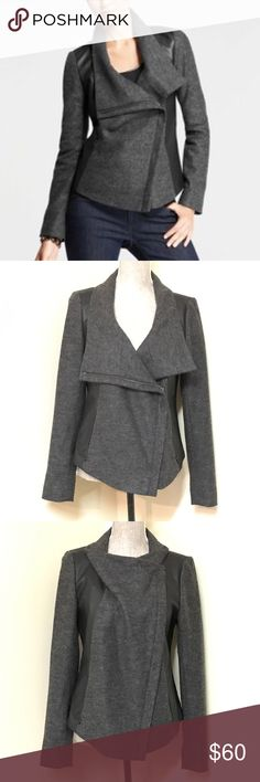 """Ann Taylor Moto Jacket BEAUTIFUL Ann Taylor wool blend & faux leather moto jacket or blazer. You can zip it all the way up or leave it half zipped for 2 different looks. Measures: 18"""" from underarm to underarm & 22.5"""" from top of shoulder to bottom hem. EXCELLENT, near new condition! Ann Taylor Jackets & Coats"""