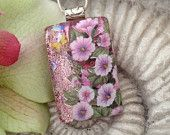 Pink - Dichroic Glass Pendant  - Fused Dichroic Glass Jewelry - Butterfly Garden - Necklace - Hollyhock - 032912p105