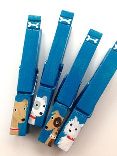 DOG CLOTHESPINS teal blue hand painted magnets by SugarAndPaint