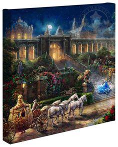 """Clock Strikes Midnight"" 14"" x 14"" Gallery Wrapped Canvas - Thomas Kinkade Studios Disney Art"
