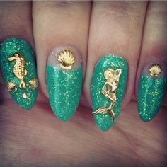 Mermaid nails I'd like them more if they weren't all ugly and pointy lol