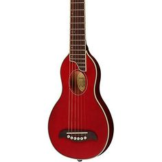 Washburn Rover Travel Guitar Transparent Red: This has a super shallow body and produces a unique nasal sound. Unlike other travel guitars is does not try to sound big. Users say it balances well. #TravelGuitar