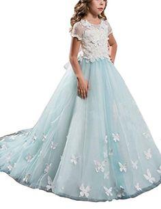 0f629c20e Mulanbridal Lace Flower Girl Dress Butterfly Kids First Communion Gown  Princess Wedding Royal Train Child9 *