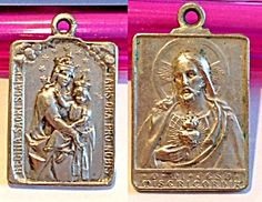 $35 Vintage Scapular Medal Virgin Mary Jesus Christ Mount Carmel (Image1) Vintage religious Catholic medal, for men or ladies, featuring the Blessed Mother, Virgin Mary, holding the Christ child, as Our Lady of Mt. Carmel on one side and the Sacred Heart of Jesus on the other.
