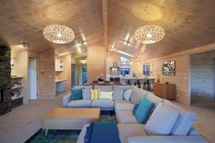 Solid blonded timber interior with raked ceiling in new Lockwood show home in Christchurch Home Building Companies, Companies House, Amazing Spaces, Living Spaces, Living Room, Country Chic, Dream Bedroom, Home Builders, Home Renovation