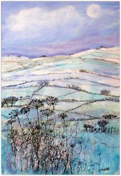 Derbyshire Hills in Winter - Rosie Taylor Painted Dupion Silk with embroidery and beads.