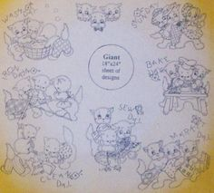 Three Kittens Embroidery Pattern Transfer Aunt Martha   eBay