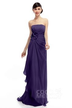 Sheath-Column Strapless Sweep-Brush Train Chiffon Sleeveless Lace Up-Corset Bridesmaid Dresses COLT1400B