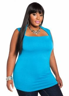 Ashley Stewart Womens Plus Size Sleeveless Draped Knit Top - Price: 	$13.65: Updated with a unique neckline this versatile top has you ready for anything the season brings. Plus size top features a draped front accent square neckline that leads to a sleeveless design, and is finished with an allover solid style and round hemline.