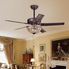 Standard Indoor Bronze 5 Blade Crystal Ceiling Fan With Light Kit