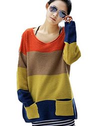 Loose Plus Size Striped Pockets Crew Neck Sweaters