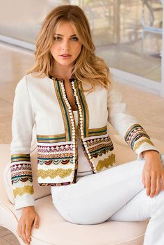 Our textured, collarless white jacket is designed with layers of luxe crochet details and petite pom-pom trim. Its a chic layering piece for the season and beyond. Fully lined vestidos Embroidered Luxe Jacket Mode Abaya, Mode Hijab, Classy Outfits, Stylish Outfits, Moda Boho, Embroidered Jacket, Refashion, Look Fashion, Blouse Designs