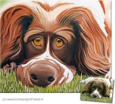 Schilderij hond in kleur