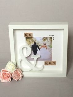 """Gorgeous """"me & you"""" #wedding 3d box frame #picture with white #glittered large, View more on the LINK: http://www.zeppy.io/product/gb/2/162132123090/"""