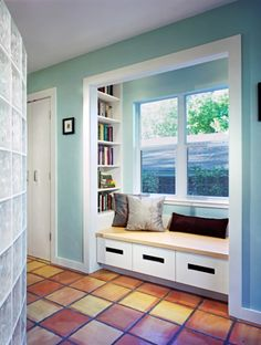 Here's a light turquoise with the saltillo tile...powder room?