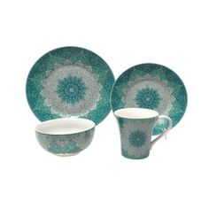 222 Fifth Kashan Blue Porcelain Dinnerware 16-piece Set
