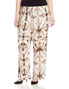 2193e5547ad Calvin Klein Womens PlusSize Printed Wide Leg Pant Soft WhiteLatte Combo 1X   gt  gt
