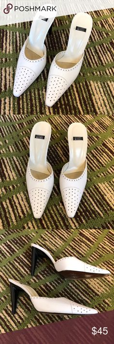 """Stuart Weitzman Pointed Toe Heeled Mules Preowned women's Stuart Weitzman Heeled Mules. Size 8.5 B - white leather - black Patent Leather slim heel - 4"""" heel - mark on the inside heel of the right shoe - no major scuffs or scrapes - nonsmoking home. Stuart Weitzman Shoes Mules & Clogs"""