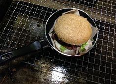 Burger served in little Frying Pan