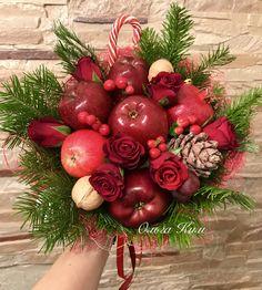 Зимний букет, фруктовый букет, букет из яблок, новогодний букет
