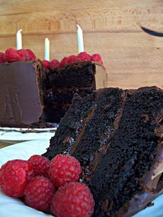 Chocolate Raspberry Ganache Cake.  Very rich and super moist.  Oh my!