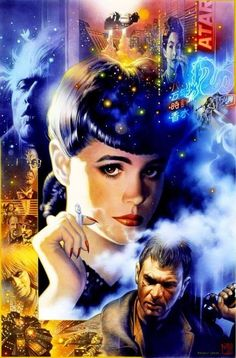 """Artistic rendition of gorgeous actress Sean Young as vulnerable synthetic replicant Rachael from director Ridley Scott's 1982 science fiction nightmare """"Blade Runner"""". Cyberpunk, Sci Fi Movies, Good Movies, Cinema Movies, Indie Movies, Action Movies, Art Blade Runner, Science Fiction, Batman Christian Bale"""